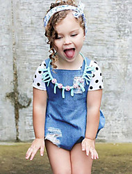 Baby Going out Casual/Daily Holiday Solid One-Pieces Summer Sleeveless Girls Cowboy Jumpsuit