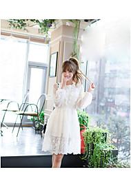 Sign hollow dress summer 2017 new Korean elastic waist was thin strap halter dress Girls