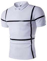 Для мужчин На каждый день Футболка Рубашечный воротник,Простое Контрастных цветов С короткими рукавами,Хлопок