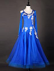 Dança de Salão Vestidos Mulheres Actuação Náilon Chinês Organza Apliques Recortes 1 Peça Manga Comprida Alto Vestidos