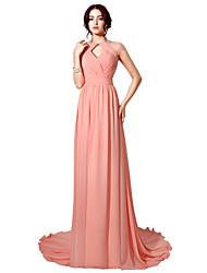Sheath / Column Halter Floor Length Court Train Chiffon Formal Evening Dress with Beading Pleats Criss Cross by Sarahbridal