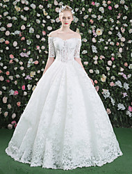 Princess Bateau Floor Length Lace Tulle Wedding Dress with Lace