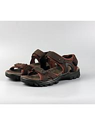 Men's Sandals Comfort Nappa Leather Outdoor Casual Flat Heel Light Brown Dark Brown