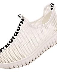 Women's Sneakers Summer Fall Comfort Light Soles Tulle Outdoor Athletic Low Heel Dark Green Black White