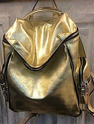 Women Sports & Leisure Bag Cowhide All Seasons Sports Outdoor Professioanl Use Camping & Hiking Climbing Zipper Gold Silver