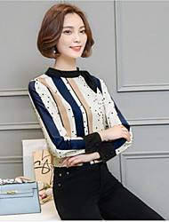 Women's Casual/Daily Simple Shirt,Striped Crew Neck Long Sleeve Silk Cotton