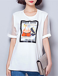 Women's Going out Casual/Daily Sexy Street chic Summer Fall T-shirt,Print Round Neck Short Sleeve Polyester Medium