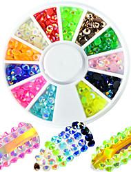 1pcs mode mélangé colorfu belle résine gelée rhinestone ongle art rond disque glitter strass nail art diy beauté brillance décoration