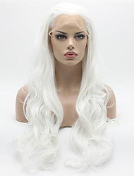 Heat Resistant Synthetic Wigs Lace Front Body Wave Hair White Color Fiber Hair Wig for Woman
