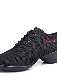 Women's Dance Shoes Fabric Fabric Dance Sneakers / Modern Sneakers Low Heel Outdoor  Black/Black-Red