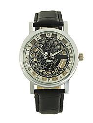 Masculino Relógio Esqueleto Relógio de Moda Chinês Quartzo Couro Banda Preta Marrom