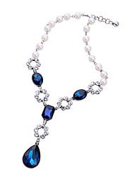 Mulheres Colares com Pendentes Cristal Moda Personalizado Euramerican Formais Azul Escuro Jóias Para Casamento Festa 1peça