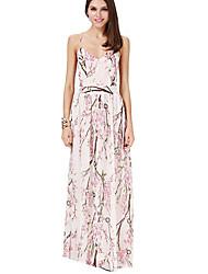Damen Swing Kleid-Ausgehen Party/Cocktail Street Schick Chinoiserie Blumen Gurt Maxi Ärmellos Polyester Sommer Mittlere Hüfthöhe