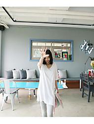 Damen Solide Aktiv T-shirt,V-Ausschnitt Kurzarm Baumwolle