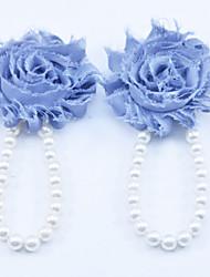 Kids Fabric Plastic Baby Pearl Shoes Handmade Flowers Feet Foot Rings