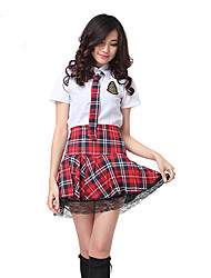 Preppy Look White Shirt Red School Girl's Uniform  Student/School Uniform Career Costumes Festival/Holiday Halloween Costumes PlaidShirt Tie