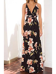 Women's Floral Patterns/Backless Going out Casual/Daily Simple Street chic Sheath Dress,Solid Black Rayon