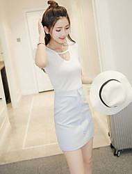 Women's Work Sexy Summer T-shirt Dress Suits,Solid One Shoulder Short Sleeve Cotton