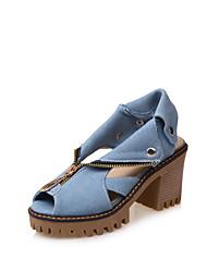 Damen-Sandalen-Lässig-Denim Jeans-Blockabsatz-Gladiator-