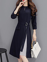 Women's Casual/Daily Sheath Dress,Color Block Round Neck Midi Long Sleeve Cotton Modal Nylon Spring Fall Mid Rise Micro-elastic Thin