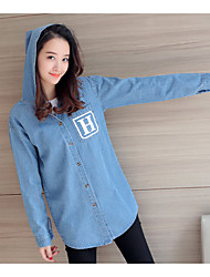Women's Casual/Daily Active Spring Trench Coat,Solid Hooded Long Sleeve Long Cotton