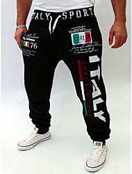 Masculino Cintura Média Micro-Elástico Chinos Calças,Solto Estampado