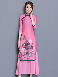 Women's Going out Casual/Daily Party Vintage Street chic Chinoiserie A Line Sheath Dress,Solid Jacquard Embroidered Stand Maxi½ Length