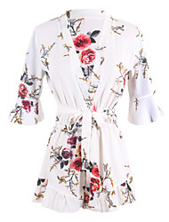 ANGELL Women's Mid Rise Going out Casual/Daily RompersSimple Street chic Loose Floral Spring Summer