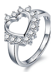 Women's Ring Statement Rings Euramerican Fashion Personalized Luxury S925 Sterling Silver Crystal Heart Silver Jewelry For Party