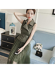 Women's Casual/Daily Simple Blouse Skirt Suits,Solid Round Neck