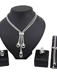 Jewelry Set Necklace/Bracelet Bridal Jewelry Sets Rhinestone Euramerican Fashion Classic Rhinestone Silver Plated Zinc Alloy Square1