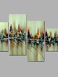 Hand-Painted Modern City Landscape Oil Painting Five Panel Canvas Oil Painting Multi Split Oil Painting