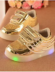 Girls' Baby Flats Comfort PU Spring Fall Casual Comfort Flat Heel Gold Silver Ruby 1in-1 3/4in