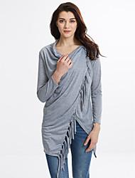 TS Women's Tassel Solid Red/White/Black/Gray Blouse,V Neck Long Sleeve