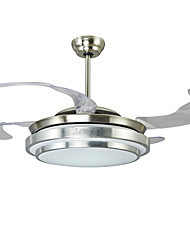42 Inch Invisible Ceiling Fan Modern/Contemporary Nickel Feature for LED Metal Bedroom Dining Room Study Room/Office