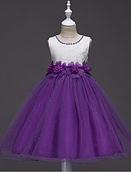 Ball Gown Short / Mini Flower Girl Dress - Organza Jewel with Beading Flower(s) Lace