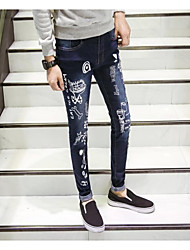 Men's High Rise strenchy Jeans Pants,Boho Loose Straight Solid