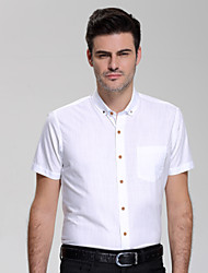 Men's Plus Size Formal Work Simple Summer Shirt,Solid Shirt Collar Short Sleeve Cotton Rayon Medium