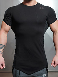 Men's Running T-Shirt Short Sleeves Quick Dry Breathable Top for Yoga Running/Jogging Exercise & Fitness Cotton Slim Black Gray M L XL XXL