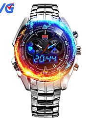 TVG KM-468 Men's Luxury Strap Watch Analog-digital Multifunctional LED Noctilucent Two Time Zones Calendar 50M Water Resistant Sport Wrist Watch