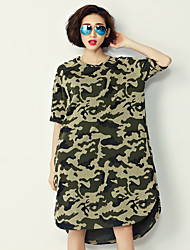 Women's Casual/Daily Active A Line Loose Dress,Camouflage Round Neck Knee-length ½ Length Sleeve Polyester Summer Mid Rise Micro-elastic
