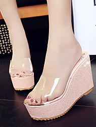 Золотой Серебряный Розовый-Для женщин-Для праздника Повседневный-Дерматин-На танкетке-Удобная обувь клуб Обувь-Тапочки и Шлепанцы