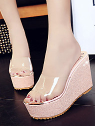 Women's Slippers & Flip-Flops Peep toe Lucency Flange Sweet Spring Summer Club Shoes Comfort Dress Casual Wedge Heel