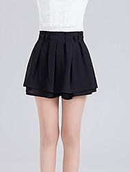 Femme Sexy Mignon Taille Haute Au dessus des genoux Jupes,Trapèze Effets superposés Couleur Pleine