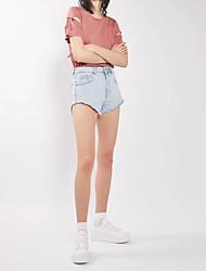 Damen Solide Sexy Einfach Street Schick Ausgehen Lässig/Alltäglich T-shirt,Rundhalsausschnitt Sommer Herbst Kurzarm Baumwolle Mittel