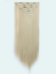 7pcs/Set 130g Golden Brown Straight 50cm Hair Extension Clip In Synthetic Hair Extensions