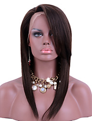 Brown Color Full Lace Human Hair Wigs Straight Hair with Side Bangs 130% Density Brazilian Virgin Hair Glueless Lace Wigs for Woman