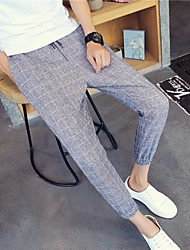 Men's High Rise strenchy Business Pants,Chinoiserie Loose Plaid