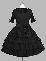 One-Piece/Dress Gothic Lolita Sexy Lace-up Cosplay Lolita Dress Solid Bowknot Cap Short Sleeve Short / Mini Legguards For Cotton