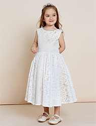 A-line Tea-length Flower Girl Dress - Lace Satin Jewel with Lace